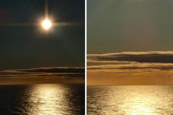 Photos of sun over the ocean zoomed in