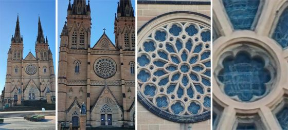 photos of cathedral zoomed in and out