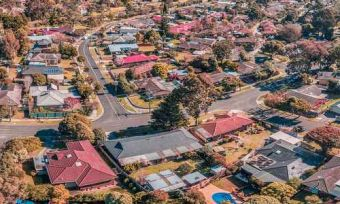 Aerial view of Melbourne suburb with houses and streets