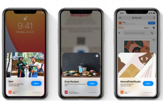 Three iPhone 11's, each performing iOS 14 features