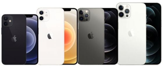 Apple's 5G iPhone 12 Mini, 12, 12 Pro and 12 Pro Max phones in black and white colourways