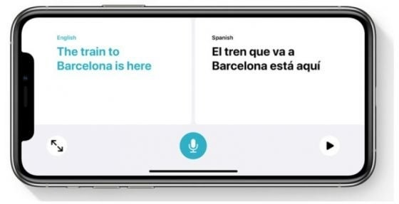 An iPhone translating a language