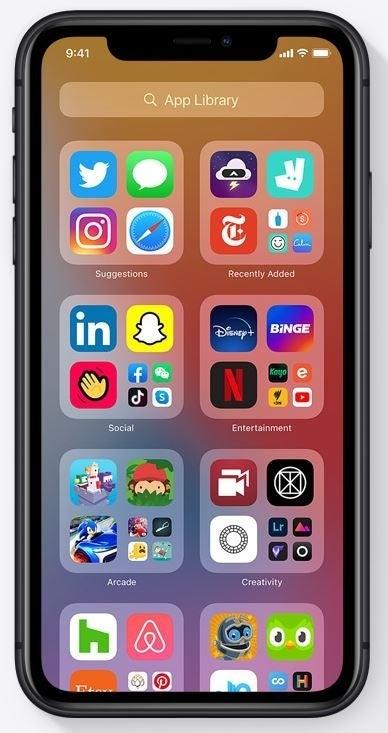 An iPhone using iOS 14
