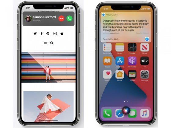 Two iPhone 11's displaying features from iOS 14