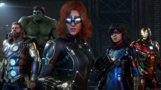 From left to right: Thor, Hulk, Black Widow, Ms. Marvel and Iron Man, five of the Avengers, a superhero team