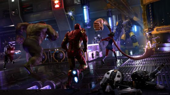 Several superheroes running toward a giant mechanical enemy, ready to fight