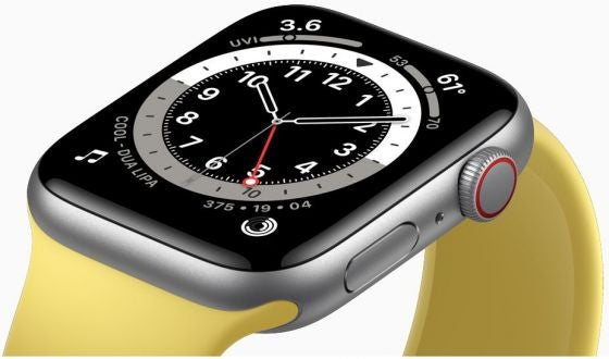 A yellow smartwatch