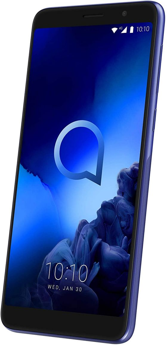 The front of the Alcatel 1X with a Pebble Blue finish