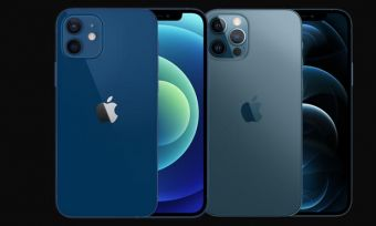 Blue versions of iPhone 12 and iPhone 12 Pro smartphones against black background