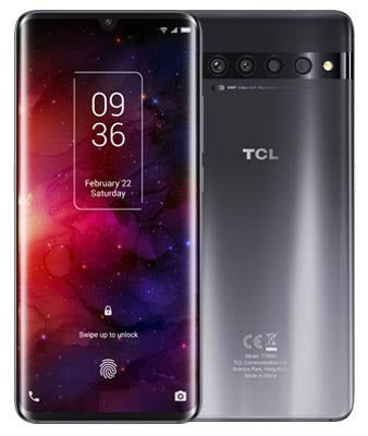 Front and back of TCL 10 Pro phone in grey colourway