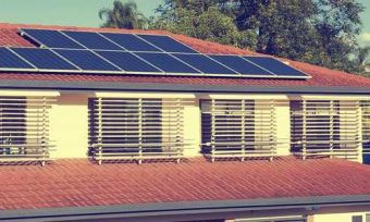 Residential house with solar panels in suburbs