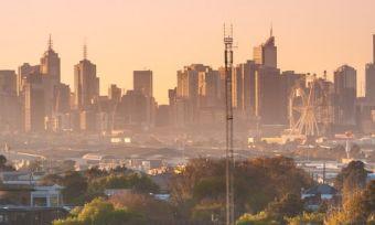 Melbourne city skyline at sunrise