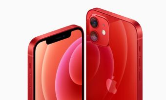 Front and back of iPhone 12 5G phone in red colourway