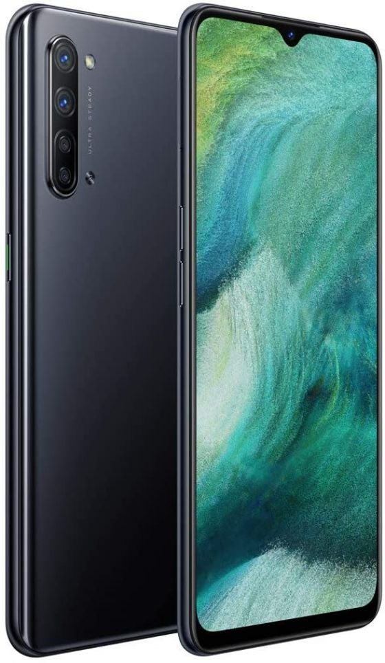 The back and front of a black OPPO Find X2 Lite, a budget handset