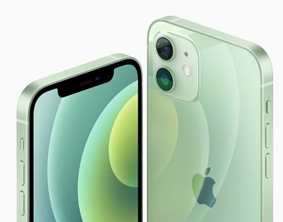 Front and back of iPhone 12 in green colourway