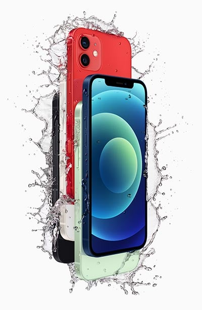 iPhone 12 phones in five colours with water splashes