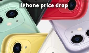 Several colourful iphones in a pattern around eachother