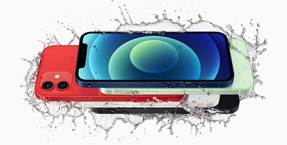 iPhone 12 range splashed with water