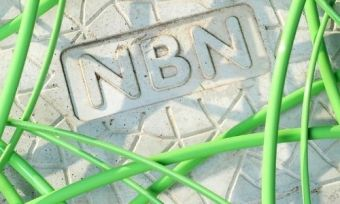 An NBN plate under some green wiring