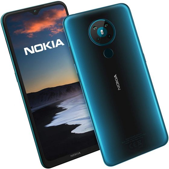 The back and front of a cyan blue Nokia 5.3 phone