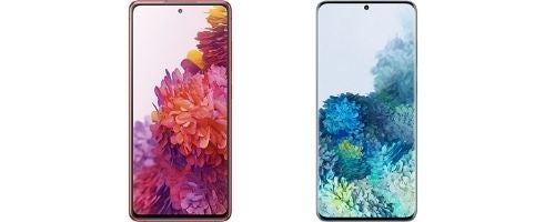 Two Samsung phones - the S20 FE and the S20+, both 5G models