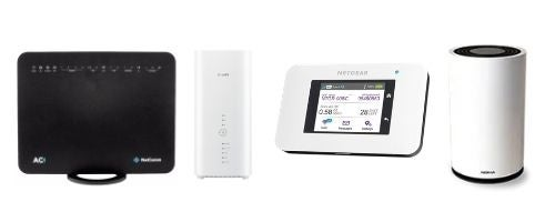Home wireless broadband models on offer from SpinTel. From left to right: The NetComm NL1901ACV, Huawei B818, Netgear AC800S and Nokia FastMile