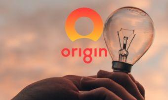 Man holding light bulb with Origin logo
