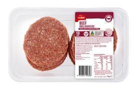 Coles beef burgers