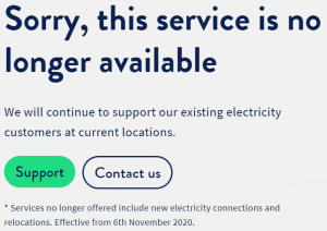 Commander no longer retailing electricity screenshot