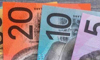 Australian money notes on wood table