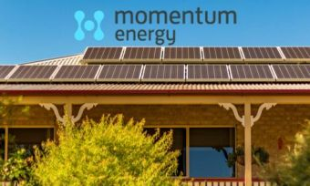House in QLD with solar panels and Momentum Energy logo