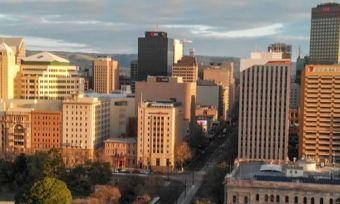 Adelaide city aerial view of buildings