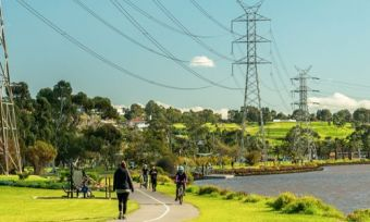 People walking in park in Melbourne with power lines above