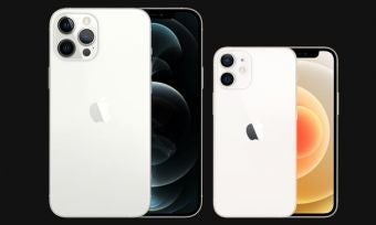 iPhone 12 Pro Max and iPhone 12 Mini in white and silver against black background