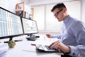 Man using accounting software