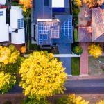 aerial houses solar panels