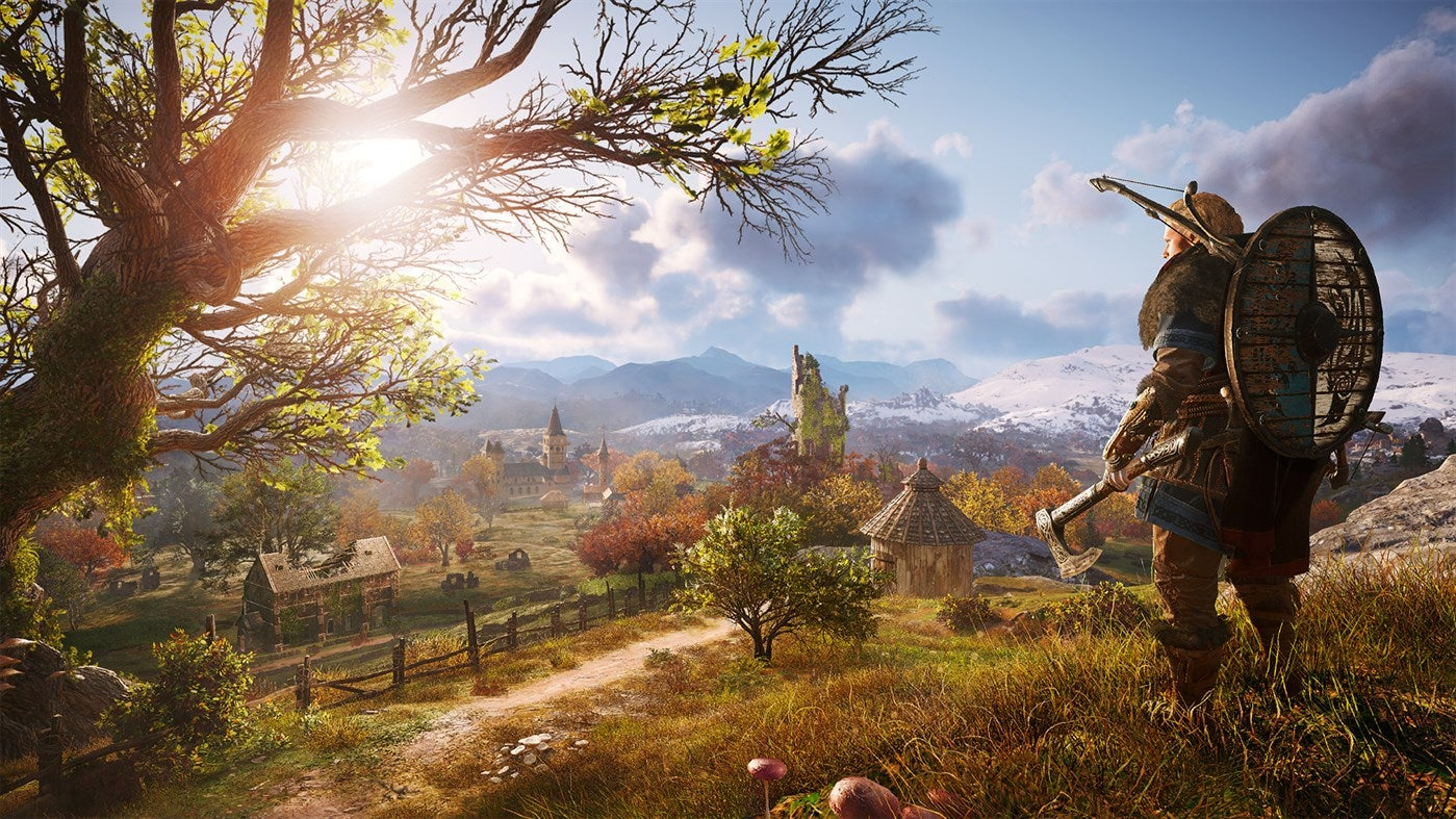 A viking overlooking the world of Assassins Creed Valhalla