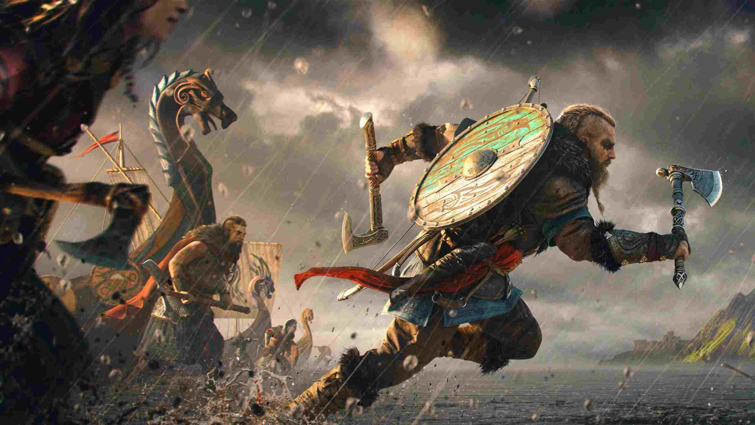 A viking running towards battle
