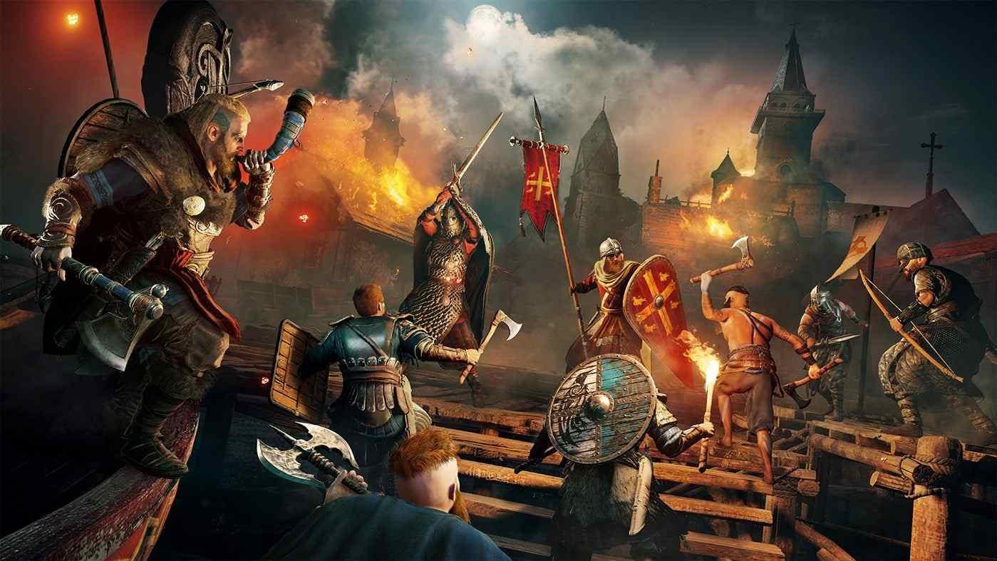 Vikings sieging a saxon stronghold