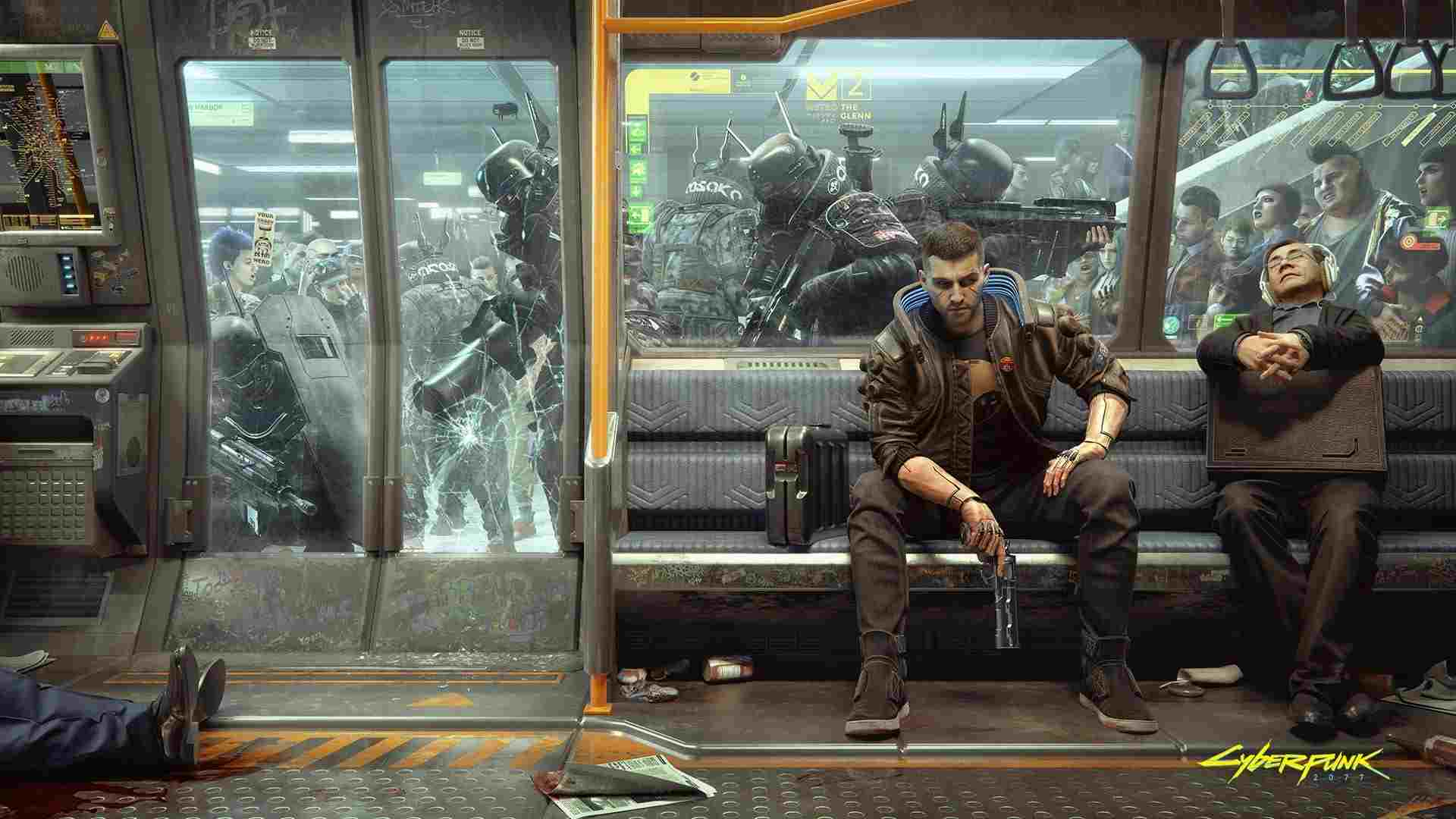 A man sitting on a train seat while private soldiers attempt to breach the doors. Another man is sleeping beside him.