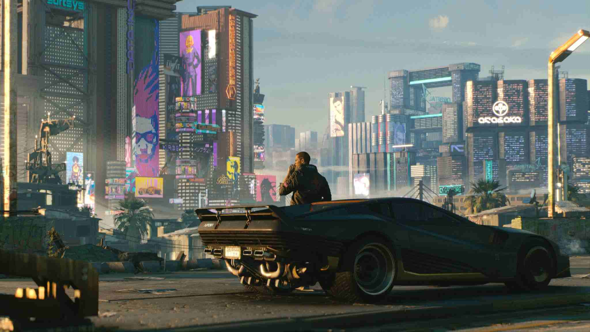 A man looking over a futuristic city, standing by a futuristic sports car