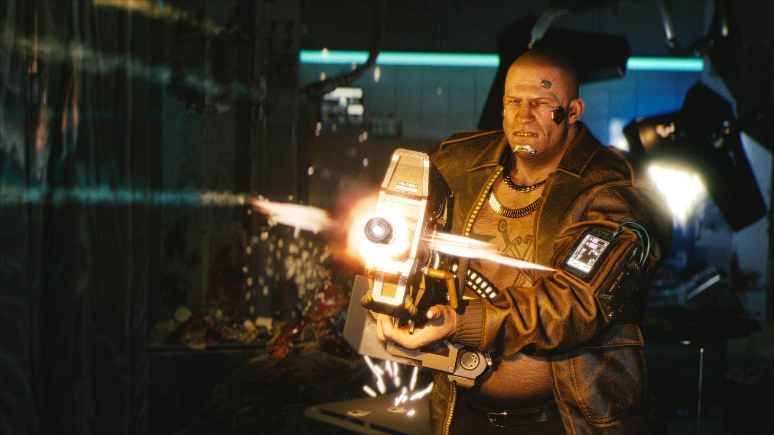A man firing a massive weapon towards the camera