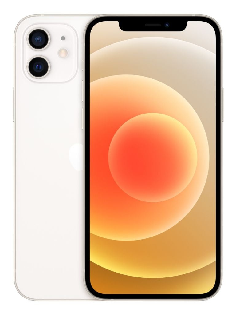 A white iPhone 12 with both front and back view