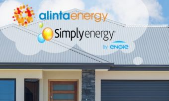 House with Alinta and Simply Energy logos