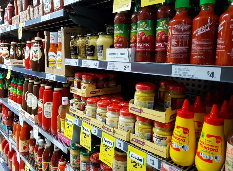 Sauces in supermarket