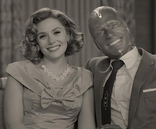 Still from WandaVision Disney+ show of Wanda and Vision in black and white