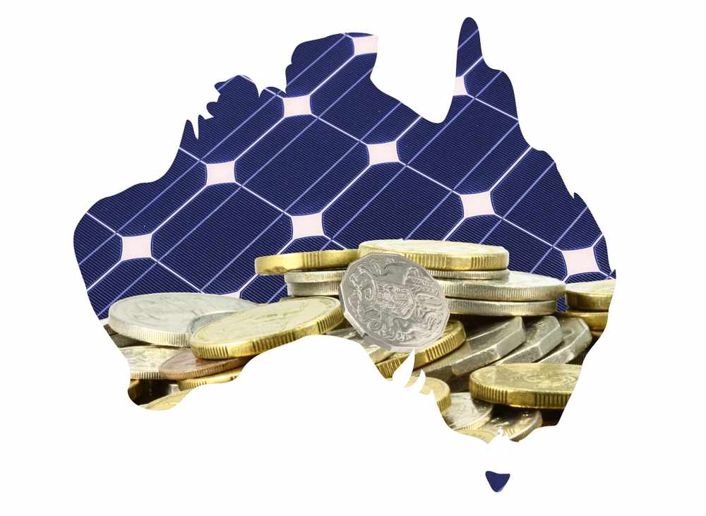 australia map with solar panels and money