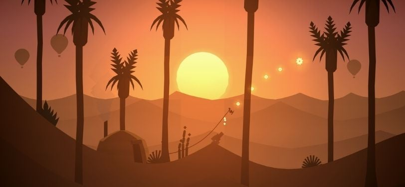 A screenshot of Alto's Odyssey, a game where you sandboard from one side of the map to the other