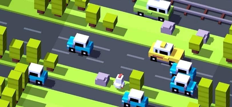 A screenshot of Crossy Road, where you need to cross to the other side of the map playing as a chicken