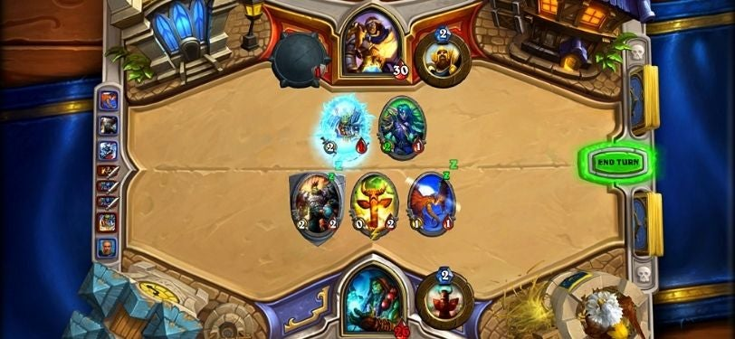 A screenshot of Hearthstone, an online card game where you defeat your opponent using mystical creatures, warriors and spells